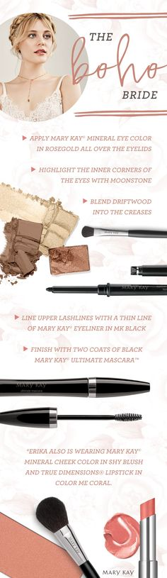 A breezy Bohemian makeup look is ideal for a bride who chooses to exchange her vows in the great outdoors. | Mary Kay