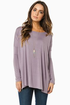 ShopSosie Style : Cozy Long Sleeve Top in Lilac by Piko