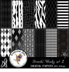 Frenche' Black and White set 2 includes 12 by IrrationalArts, $4.00