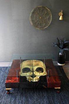 Pinterest: @MagicAndCats ☾ Skull Reclaimed Coffee Table
