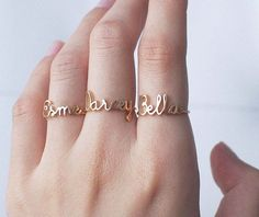custom personalized name rings  - I love the handwriting look