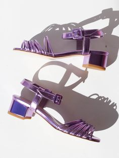"""Multi strap sandal with ankle strap. 1.75"""" block heel. 100% goat leather. Color: Purple Metallic Made in Turkey"""