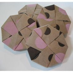 Origami octagon gift boxes - recycled Kraft with cute and trendy chocolate and pink polka dots.