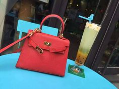Free Shipping!2016 Hermes Outlet With Free Shipping-Hermes Mini Kelly 20CM in Red Epsom Leather Gold