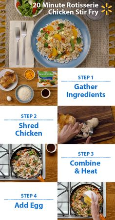 Yummy & easy! Put together a quick meal your family will love in just 20 minutes with this super simple Rotisserie Chicken Stir-Fry recipe. You can make a delicious dinner with just 6 ingredients. Shred a delicious Walmart rotisserie chicken. Heat a pan at medium-high, stir in chicken and veggies. When hot, add stir-fry sauce and then an egg to bring it all together. Serve on rice, garnish with mandarin oranges and enjoy. Simplify meal planning with Walmart's Simple Meals.