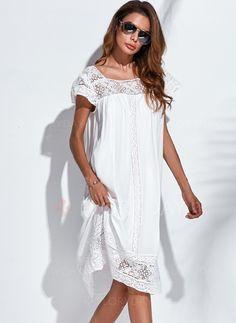 Kleider - $62.99 - Baumwolle Rayon Solide Halbe Ärmel Knielang Lässige Kleidung Kleider (1955131467)