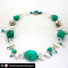 #Repost @ravishingheartdesigns  Bohemian turquoise dream necklace with Chinese turquoise Thai handmade silver fair trade sterling silver freshwater pearls and sterling silver.  This is a one time design for sale at $225.00USD  #beachstyle #handmadejewelry #oneofakind #madeintheusa #bohochic #bohostyle #bohemian #boho #turquoise #pearl #beachstyle #festivalfashion #festivalstyle #wearableart #chineseturquoise #thailand #thaisilver #charlotte #chicago #lkn #lakenormanstyle #lakenorman…