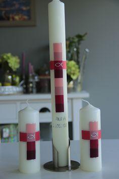 Taufkerze taufkerzen Größe 40x4cm Ein Name und Datum inklusive, weitere Beschriftung: pro Buchstaben/Zahl 0.40 Euro Kerzenhalter € 15.-.... Paten/Tischkerze unbeschriftet je € 16.-