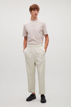 COS image 1 of Cropped wide-leg trousers in Ivory Cropped Wide Leg Trousers, Latest Clothes For Men, Timeless Design, Elastic Waist, Normcore, Slim, Cotton, Cos, Shopping