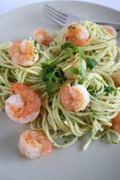 Spaghetti with Arugula Pesto and Seared Jumbo Shrimp...  deliciously healthy !