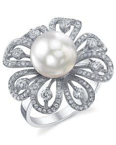 White South Sea Pearl & Diamond June Ring