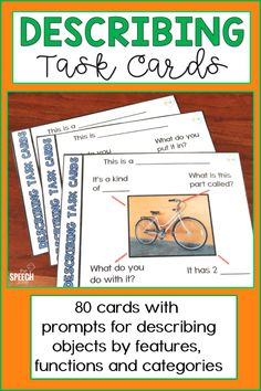 Help children develop the skills they need to describe objects with these photo describing task cards. Each of the 80 cards in this product has a target picture and multiple closed prompts to help kid Aphasia Therapy, Speech Activities, Speech Pathology, Speech Therapy Activities, Speech Language Pathology, Language Activities, Speech And Language, Preposition Activities, Articulation Games