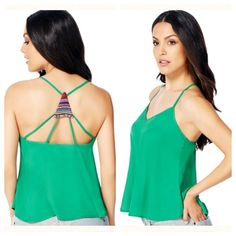NWT JustFab Printed Racerback Cami in Green NWT JustFab Printed Racerback Cami in Green.  See fourth picture for full details. Top is in original packaging.  NO TRADES! JustFab Tops Camisoles