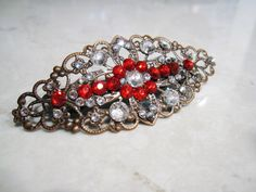 23.95$  Watch now - http://viwkm.justgood.pw/vig/item.php?t=n0pdy838204 - Antique bronze filigree hair clip barrette with red crystals bridal hair clip 23.95$
