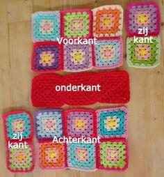 Smaller bag 16 multi & 3 other Haken en meer: Patroon beschrijving voor de granny square tas.