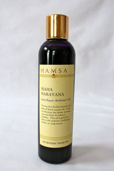 Healthy Joints-Mahanarayana Thailam. $28.00, via Etsy. Mahanaryana has a familiar woodsy smell. It is one of the most highly regarded medicinal oils in ayurveda for reducing physical pain. It is made with over 25 herbs in a sesame seed oil base, according to a formula that is over one thousand years old. Shatavari, cedar, and bilwa are anti-inflammatory and support healthy joint movement. Sesame seed oil is rich in antioxidants, and used to reduce a arthritic conditions.