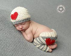 Newborn Heart Beanie and Striped Heart Pants  Newborn photon prop  Newborn  Crochet Pant and 8e663ad3d47