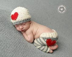 Newborn Heart Beanie and Striped Heart Pants/ Newborn photon prop/ Newborn Crochet Pant and Beanie/ Creme and Grey Newborn Set on Etsy, $40.00