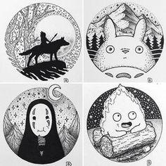 Monoke, totoro, no- face, calcifer Anime Art, Sketches, Sketch Book, Art Drawings, Drawings, Ghibli Tattoo, Anime Tattoos, Art Journal, Art Inspiration