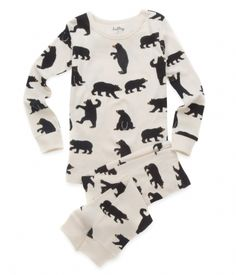 Black Bears Kids' Overall Print Pajama Set  #bear #pyjama