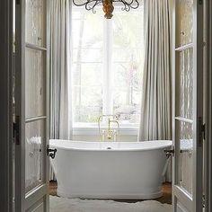 Gray Glass Paned Doors to Master Bathroom