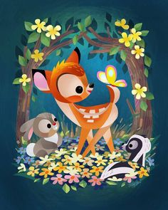Bambi Art by Joey Chou Disney Kunst, Arte Disney, Disney Fan Art, Disney Magic, Disney Love, Bambi Disney, Disney Disney, Disney Illustration, Cute Illustration