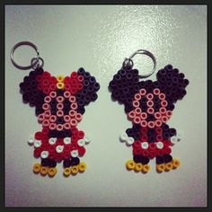Minnie and Mickey Mouse keyrings perler beads by funwithbeadz