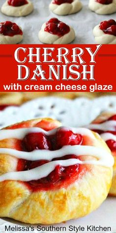 Transform frozen dinner rolls into these oh-so-delicious Cherry Danish with Cream Cheese Glaze Best Brunch Recipes, Sweet Recipes, Favorite Recipes, Potluck Recipes, Breakfast Recipes, Easy No Bake Desserts, Desserts To Make, Health Desserts, Candy Recipes
