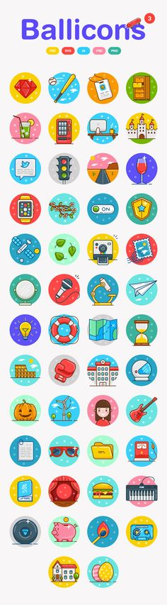 Free Ballicons Icons Set (50 Icons) #colorfulicons #multicolor #freebie #freeicons #psdicons #svg #vectoricons #outlineicons