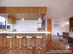 Clifton Hill House by Nic Owen Architects - Kitchen Space Used Clear Bar Stools Decor For Home Inspiration Modern Interior Design, Contemporary Design, Kitchen Contemporary, Modern Interiors, White Kitchen Furniture, Modern Design Pictures, White Bar Stools, Cocinas Kitchen, Best Kitchen Designs