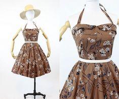 Cherry Blossom Dress, White Cherry Blossom, Cherry Blossoms, Vintage Summer Outfits, Vintage Dresses, Summer Dresses, Cotton Dresses, Cotton Skirt, Shirtwaist Dress