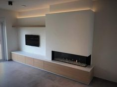 Fireplace Tv Wall, Modern Fireplace, Living Room With Fireplace, New Living Room, Living Room Modern, Living Room Designs, Living Room Decor, Feature Wall Living Room, Luxury Living