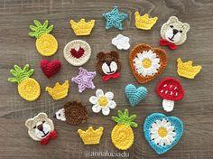 11 cute applique pattern pack, crochet a Crochet Ladybug, Crochet Bear, Cute Crochet, Crochet Crafts, Crochet Projects, Irish Crochet, Crochet Motifs, Crochet Patterns, Crochet Mignon