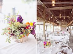 Love these rustic wedding centerpieces with ivy and berries, plus wildflowers, at the unique outdoor wedding venue - Thompson Island in the Boston Harbor.  They have the perfect barn style covered pavilion for the reception, and a view of the Boston skyline that guests enjoy as they ride a boat to the wedding!  Talk about a unique and alternative venue!  This is our style of photography...  :)