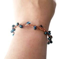 Copper Beaded Bangle Bracelet, Blue Czech Beaded Bangle, Blue & Copper Bracelet, Unique Birthday Gift, Gift for Her  #jewelry #jewelrystacks #creativebiz #etsyfinds #savvybusinessowner #supporthandmade #handmadeisbetter #craftsposure #smallbusinessowner #shopsmall #smallbusiness #girlboss #bosslady #craftsposure #creativityfound #calledtobecreative #thecreativegrid #handmadejewelry #craftbuzz #etsyshop #marketnshop