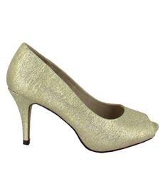 Zapato Peep Toe en Dorado. Esencial para cualquier ceremonia, fiesta u ocasión especial. Ref.5990 //Golden Peep Toe shoe. Essential for any ceremony, party or special occasion. Ref.5990