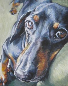 Dachshund Fine Art Dog Painting from an original painting by L.Shepard Art Print by LA Shepard Dog Artist - X-Small Dachshund Funny, Arte Dachshund, Funny Puppies, Dachshund Puppies, Wiener Dogs, Daschund, Rough Collie, Dog Portraits, Portrait Art