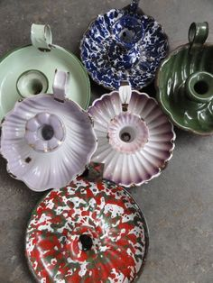 1930's French and English vintage Enamel candleholders.