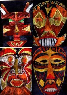 : African masks in warm colors - Panda chalk with black ecoline / scratches Art Activities For Kids, Art For Kids, Tiki Totem, 8th Grade Art, Mask Drawing, Contemporary African Art, Africa Art, Masks Art, Arts Ed