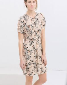 Beige Short Sleeve Floral Casual Slim Dress - Sheinside.com