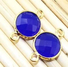 An-1095 Summer sale!Blue chalcedony 24k Gold Plated Connector #Handmade #Contemporary