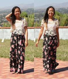Crochet Top, Forever 21 Floral Maxi Skirt, Jeffrey Campbell Gladiators