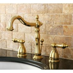 Kingston Brass Victorian 8 in. Widespread 2-Handle Bathroom Faucet in Polished Brass