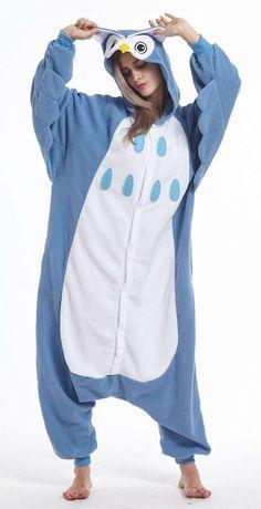 3a0aae263 Xizebey Cosplay Unisex Adult Sleepware jumpsuit Christmas Pajamas Blue  Owl Adult Sleepware Unisex