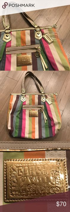 """Coach Poppy Legacy Glam striped tote This Coach Poppy bag is ready for summer!  Pink, orange, green, gold Pre-Owned Condition (small sign of wear one one corner and 1 pen mark inside) Large tote   1 Front Zip Pocket Double Metallic Shoulder Strap  8"""" Strap Drop Full Zip Top  2 Coach Hangtags  Inside is Lined in Green 1 Full Size Zip Pocket inside 2 Open Cell Phone Style Pockets inside Dimensions: 14 x 16 Coach Bags Totes"""