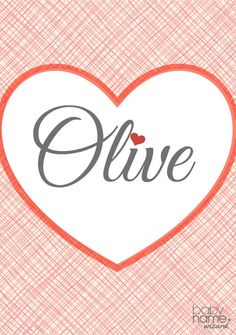 "Olive: Meaning, origin, and popularity of the name. Rearrange the letters in this name and you can spell ""I love"". It's a Victorian favorite that sounds perfectly old-fashioned and pretty, without being frilly. And we have nothing but positive associations with olives, as a staple in mediterranean cooking or an olive branch that symbolizes peace. Drew Barrymore would agree, who chose Olive for her first daughter, born in 2012."