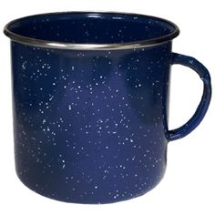 Rimmed Lake Mug    Our Lake Cup is the traditional speckled enameled steel camp cup. It looks like the old fashioned tin/metal camp cups. This great camping mug with speckled enamel comes in the traditional speckled blue color. Our Lake Mug is perfect for an old time country or retro program. This mug will also be ideal for outfitters, outdoor events and other camping related uses. If you need a cup for a camp related marketing promotion then this is the cup for you.