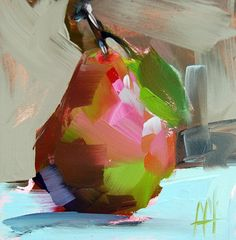 Pear no. 31 original still life oil painting by Angela Moulton 5 x 5 inch on panel prattcreekart