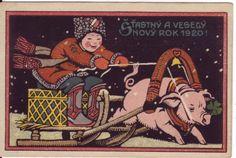 Christmas Pig as Santa postcard 1920 New Year Greeting Cards, New Year Greetings, Christmas Cards, Tis The Season, Vintage Postcards, Vintage Christmas, Scrap, Poster, Santa