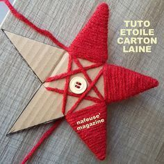 Tutorial make a Christmas star with cardboard and wool. An idea created . - Tutorial make a Christmas star with cardboard and wool. An idea created . Handmade Christmas Decorations, Christmas Crafts For Kids, Diy Christmas Ornaments, Homemade Christmas, Rustic Christmas, Christmas Projects, Holiday Crafts, Christmas Heaven, Christmas Stars